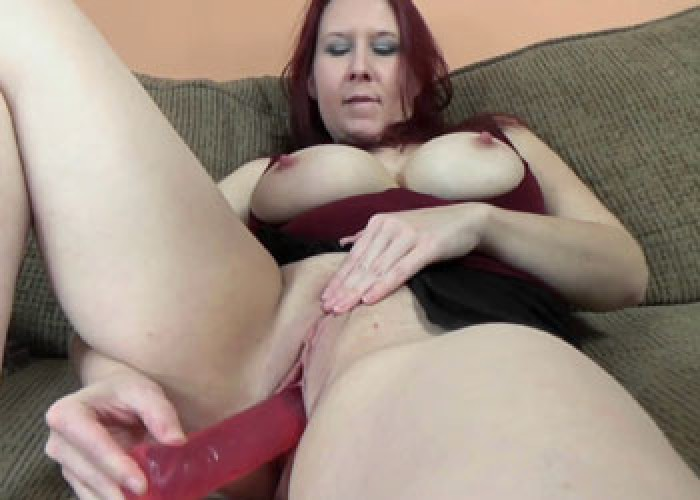 Lia Shayde fucks her big red dildo